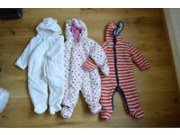 9-12 months 3 super cosy padded suits. £6 each or 3 for £15