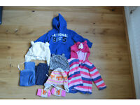 9-12 month cosy bundle, 2 cool hoodies (Benetton, Mothercare), 2 pairs of leggings, 3 funky hats £19