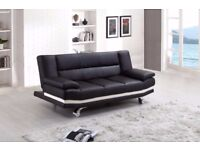 MILAN LEATHER SOFA BED ONLY £199, FREE DELIVERY, 2 FREE CUSHIONS, AVAILABLE IN BLACK OR RED