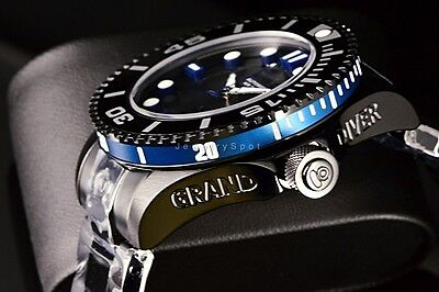 Invicta 47MM Grand Diver Combat Gen II Automatic 3D Dial Black/Blue IP SS Watch