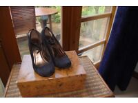 Black Ankle Strap Shoe Wedge Size 5 NEXT