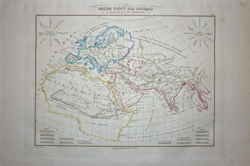 1833 Genuine Antique map of Ancient World  Malte-Brun