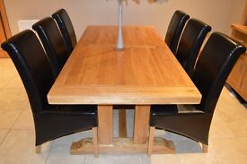 4 Black Leather Effect Oak Dining Chairs