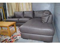 EX DISPLAY Salvatore Real Leather Right Hand Corner Sofa - Chocolate.