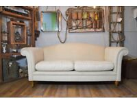 Laura Ashley Gloucester Fabric Sofa Couch Cream on Castor Legs