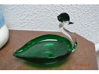 Clear Murano Glass Swan tinket tray