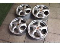 """Genuine Porsche 17"""" Alloy wheels 5x130 Turbo Twist Boxster 911 Alloys 944 928 VW? Stance Alloys"""