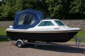 5.35m Kruger Beta 2 Boat with 50 hp Honda Outboard, Trailer, Boat Cover, Very little use