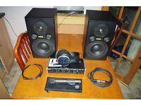 Fostex studio monitors, Tascam interface, AKG headphones, Rode condenser microphone