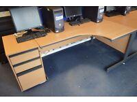 corner desk with desk height pedestal