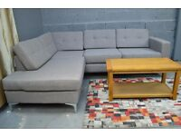 Ex display Brooklyn left hand Corner Fabric Sofa - Steel EX ARGOS - WE DELIVER