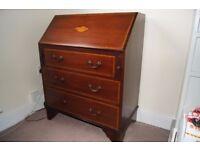 Antique Bureau, Edwardian Mahogany Writing Desk, English Library Furniture with key