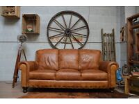 Leather Vintage 3 Seater Sofa Studs Tan