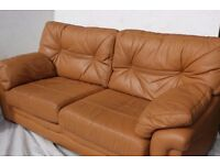 G PLAN LEATHER SETTEE AND CHAIR
