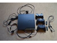 PS3 SLIM CONSOLE WITH 3 CONTROLLERS, GAMES & HEADPHONES