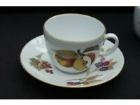 Royal Worcester - Evesham gold trim (not green) cups and saucers. Vintage, wedding, tea party, gift