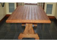 Rustic Farmhouse Table & 2 x Wooden Carver Chairs
