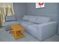 MASSIVE HIGH QUALITY THICK FABRIC CORNER SOFA IN GREY COLOUR