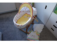 Mothercare Circus Moses Basket & Rocking Stand + extras