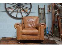 Vintage Leather Armchair Tan Studs