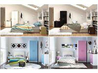 Brand New 3 Piece Trio Bedroom Set Walnut Black Oak White Pink Blue Wardrobe HIGH GLOSS NEW