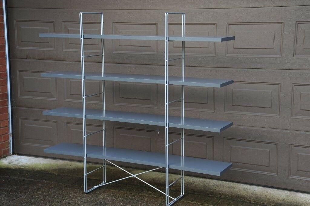 Ikea Display Shelf Unit Metal Frame And Grey Shelves In
