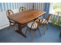 Vintage Ercol 1960 chairs x 4 and table set