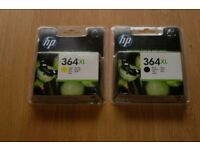 HP 364XL BLACK AND YELLOW CARTRIDGES
