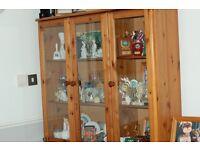 solid wood display cabinet V.G.C glass doors [3] lights inside 110cm x98 tall x28 depth