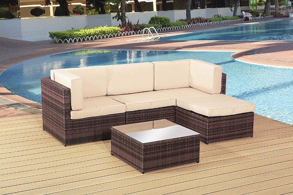 Rattan Garden Furniture Set Sofa Corner Table In