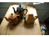 3 vintage teapots, Windmill Price Bros, Cottage, Black with gold design