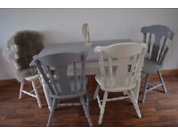 REDUCED Shabby Chic Solid Pine Dining Table & 4 Solid Wood Chairs White & Grey ASAP