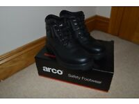 Mens Arco Black Leather Safety Steel Toe Boots Size 10 44