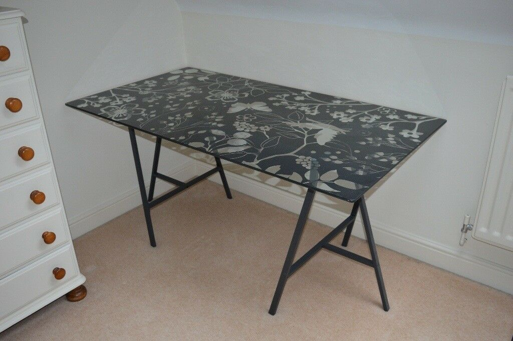 Ikea Sell Glass Desk Table Top With Trestles Student