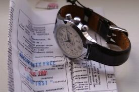Poljot manual wind mechanical chronograph wristwatch - NOS- Russia -Circa '01- White dial - cal 3133