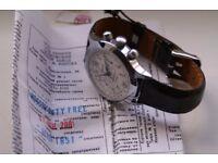 Poljot manual wind mechanical chronograph wristwatch - NOS- Russia -Circa '01- White dial - cal 3133