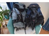 Two large hiking backpacks from Jansport and Wynnster