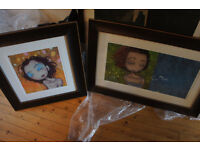 2 large Kurt Halsey limited edition girl prints mounted and framed in dark walnut