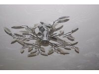 crystal and chrome leaf light fitting