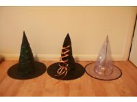 Three halloween witch hats