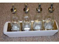 Lovely set of 4 Square Olive Oil & Vinegar Dressing Drizzler Bottle With Tapor