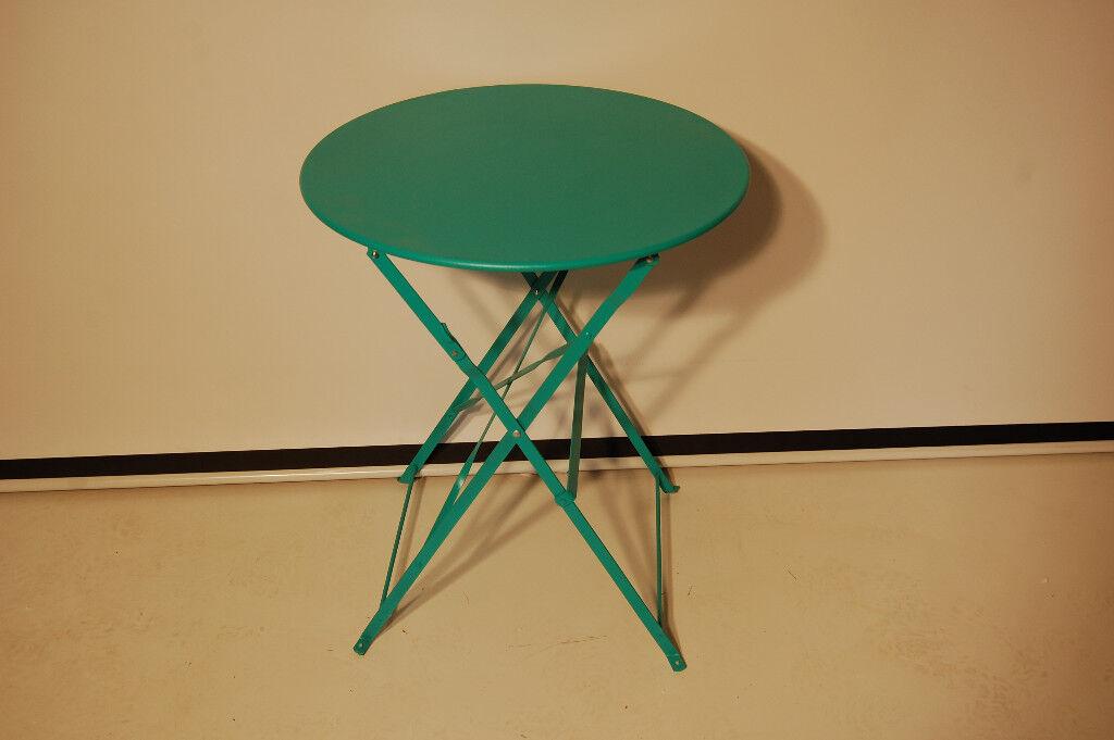 Small Metal Green Round Garden Patio Table Folding