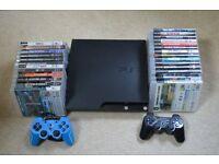 PS3 slim 160GB plus 26 Best Games - bundle