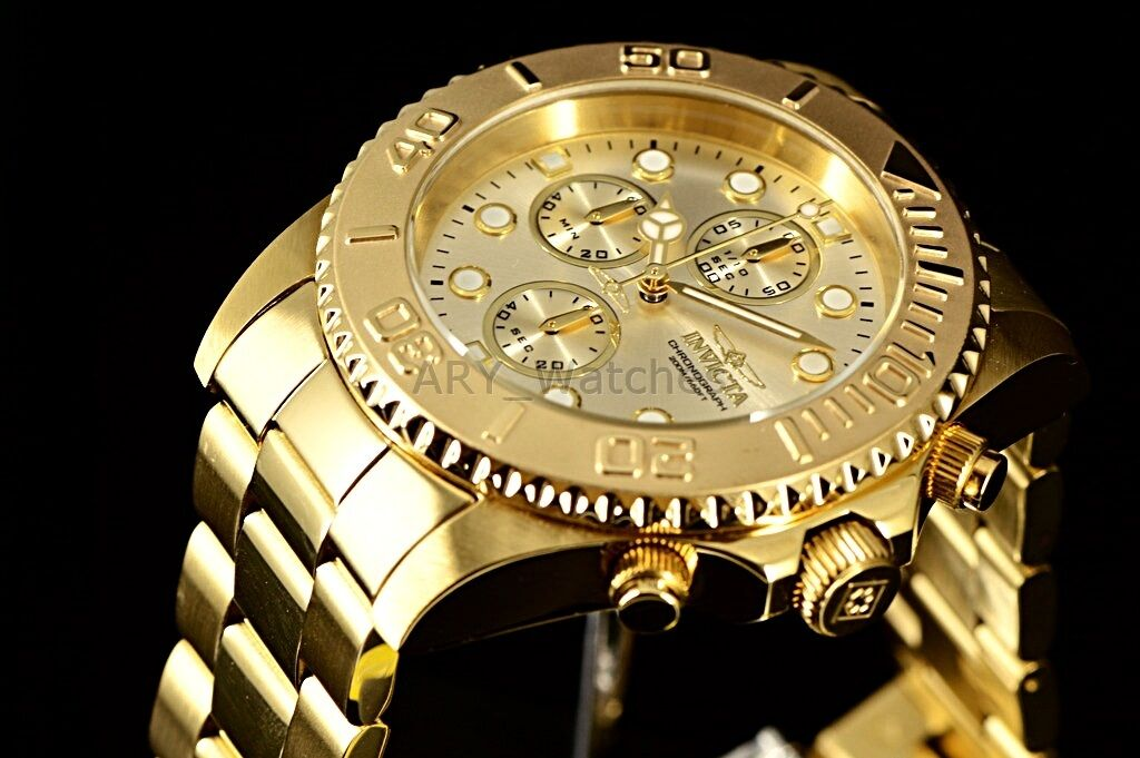 $91.95 - Men's Invicta Pro Diver 18k GOLD Plated SS Chronograph Champagne Dial $695 Watch