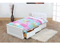 3ft Single Mission Storage Drawers Kids Bed White Pine Mattress Option