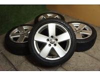 "Genuine VW Passat 17"" Monte Carlo Alloy wheels & Tyres 5x112 Eos Golf MK5 MK6 Caddy Audi Alloys"