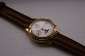 Alfex manual wind mechanical chronograph wristwatch - Swiss - New old stock - '90s - Moonphase