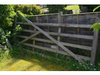 Wooden 5 bar gate and fittings