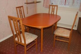 Dining Room Extending solid wood Table and Chairs