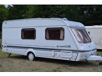 2001 Swift Charisma 560 4 Berth Touring Caravan, end washroom layout